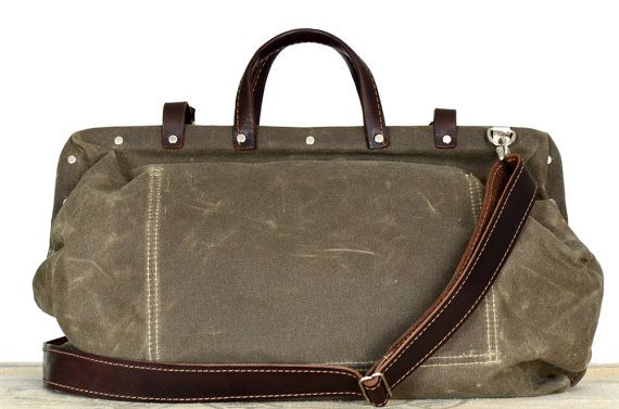 Harry drab olive waxed canvas bag with detachable by sidneyandson