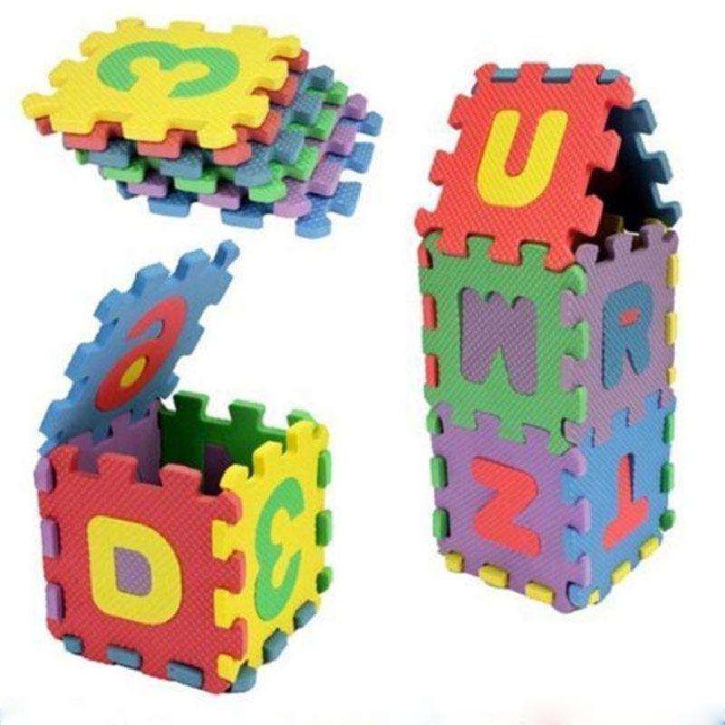 36 개/대 남녀 미니 어린이 퍼즐 아이 장난감 교육 3D 퍼즐 알파벳 AZ 편지 숫자 부드러운 거품 매트 Rompecabezas