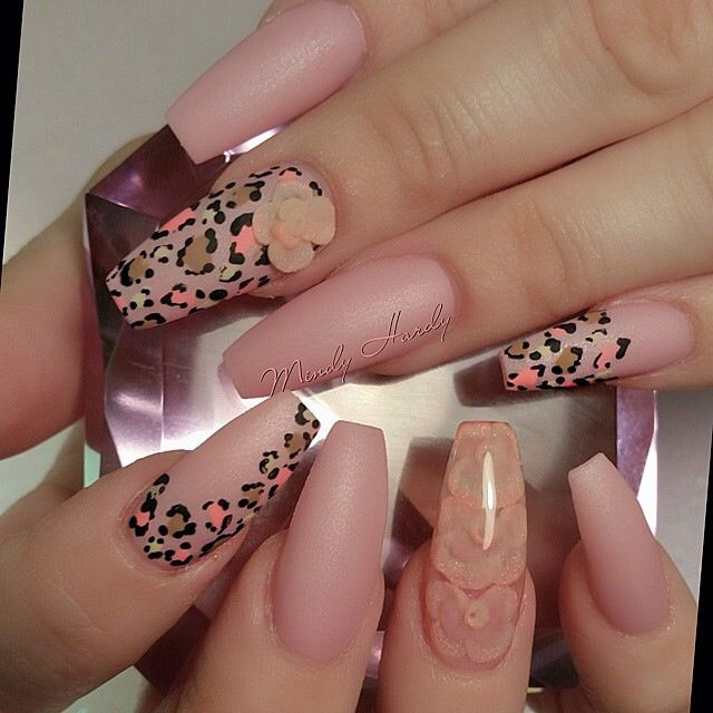 Matte Coffin Nails With Cheetah Design These Are Beautiful Nails