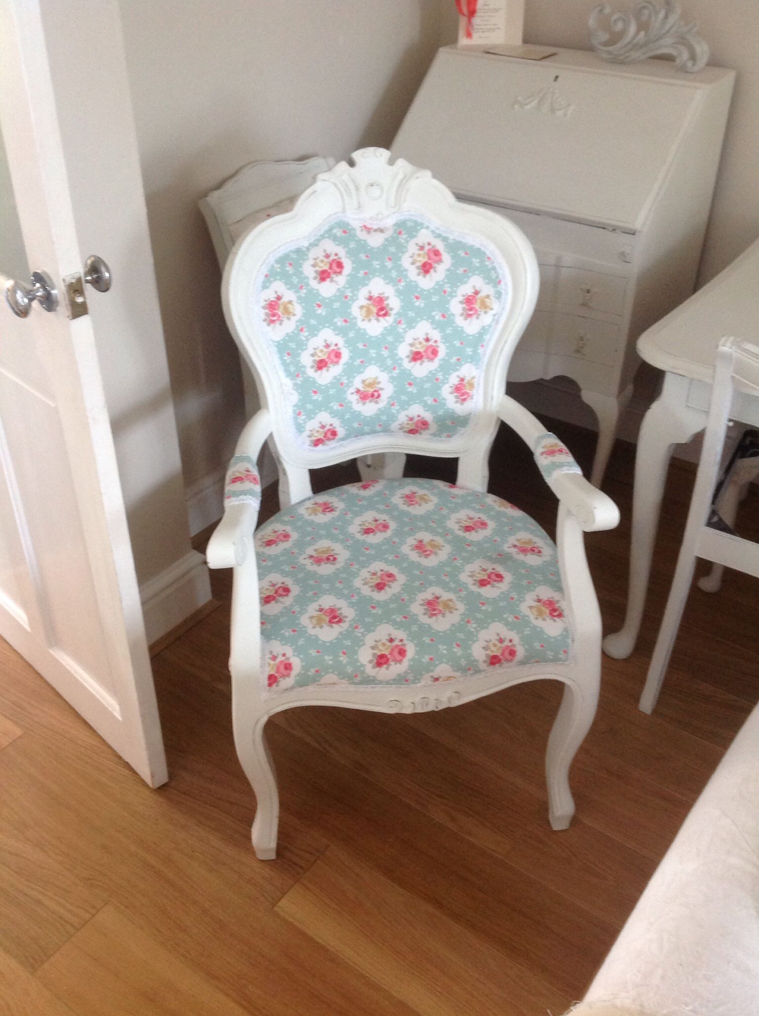 kath kidston style french bedroom chair painted and reupholstered