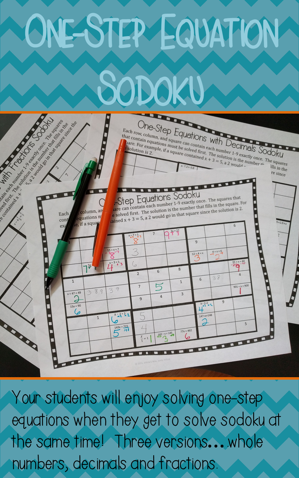 one step equation sudoku game math ideas it s a math thing