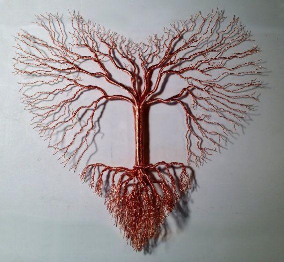 Albero di amore in rame o multicolore filo-Made per ordine