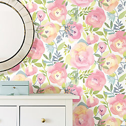 Nuwallpaper Peachy Keen Pink Peel Stick Wallpaper The Home Depot Canada Canada Depot Home Home Depot Wallpaper Canada Tapete I 2020