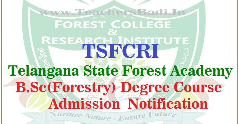 tsfcri bsc(forestry) admission notification 2017 at telangana ...