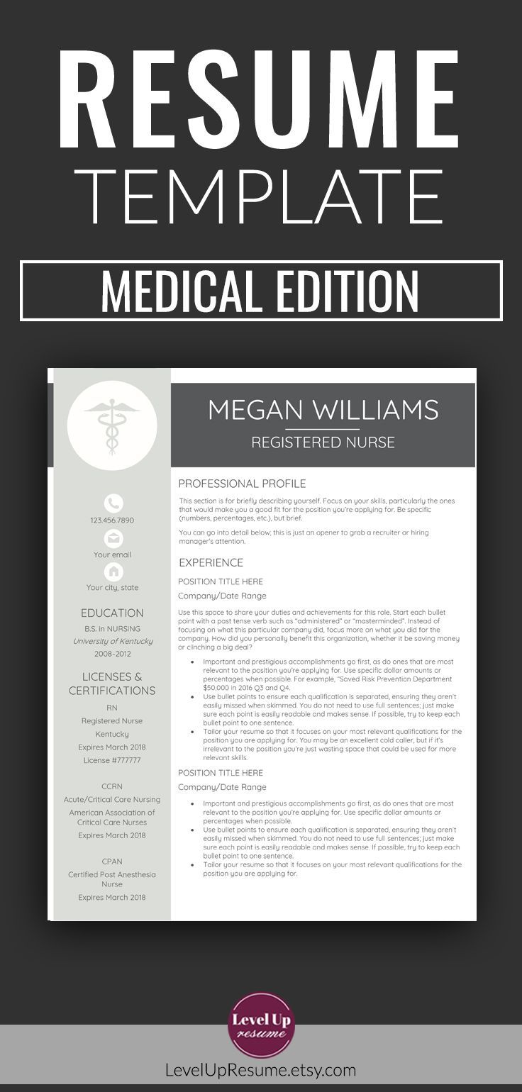 Resume Template Medical Edition. For MS Word. Minimalist