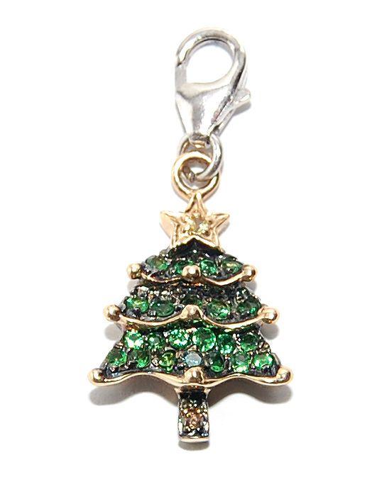 NEW 14k GOLD GREEN GARNET YELLOW SAPPHIRE DIAMOND XMAS CHRISTMAS  - Christmas Tree Charms
