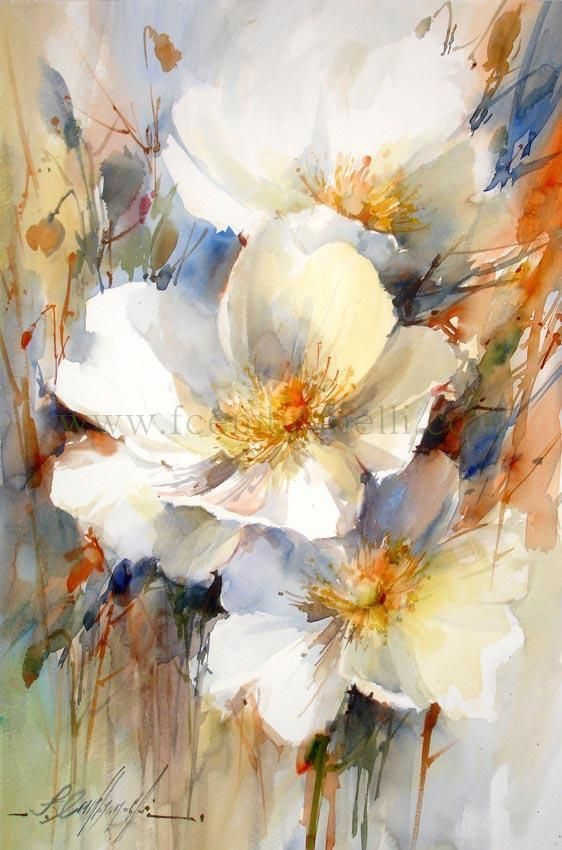 Watercolor Dogwood Blossoms By Artist Fabio Cembranelli I Love