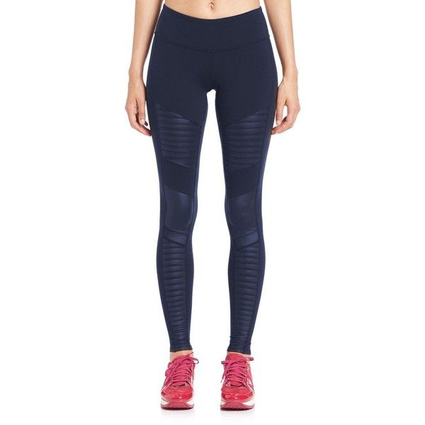 Alo Yoga Moto Leggings ($115) ❤ liked on Polyvore featuring pants, leggings, apparel & accessories, navy, stretchy pants, shiny leggings, stretchy leggings, pull on pants and navy pants