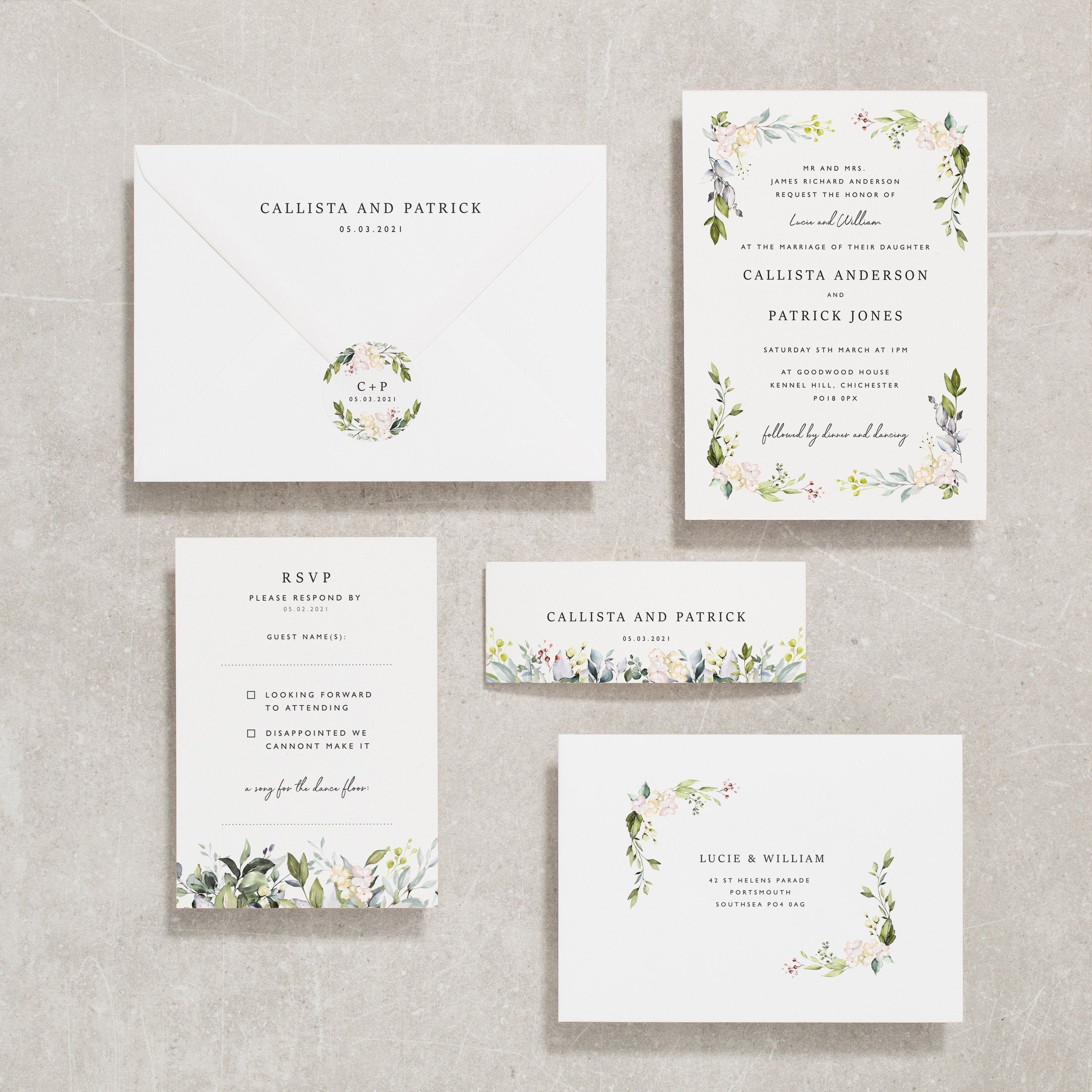 Floral Wedding Invitations With Rsvp Greenery Wedding Invite Wedding Invitation Set Botanical Wedding Invites Foliage Callista 136 Botanical Wedding Invitations Floral Wedding Invitations Greenery Wedding Invitations