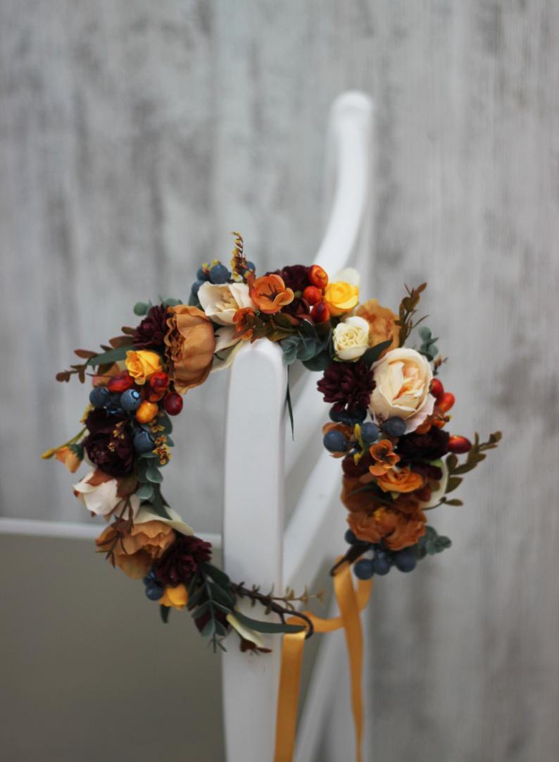 Burnt Orange Dusty Blue Floral Crown Rust Floral Wreath Etsy Floral Wreath Wedding Flower Crown Wedding Blue Floral Crown