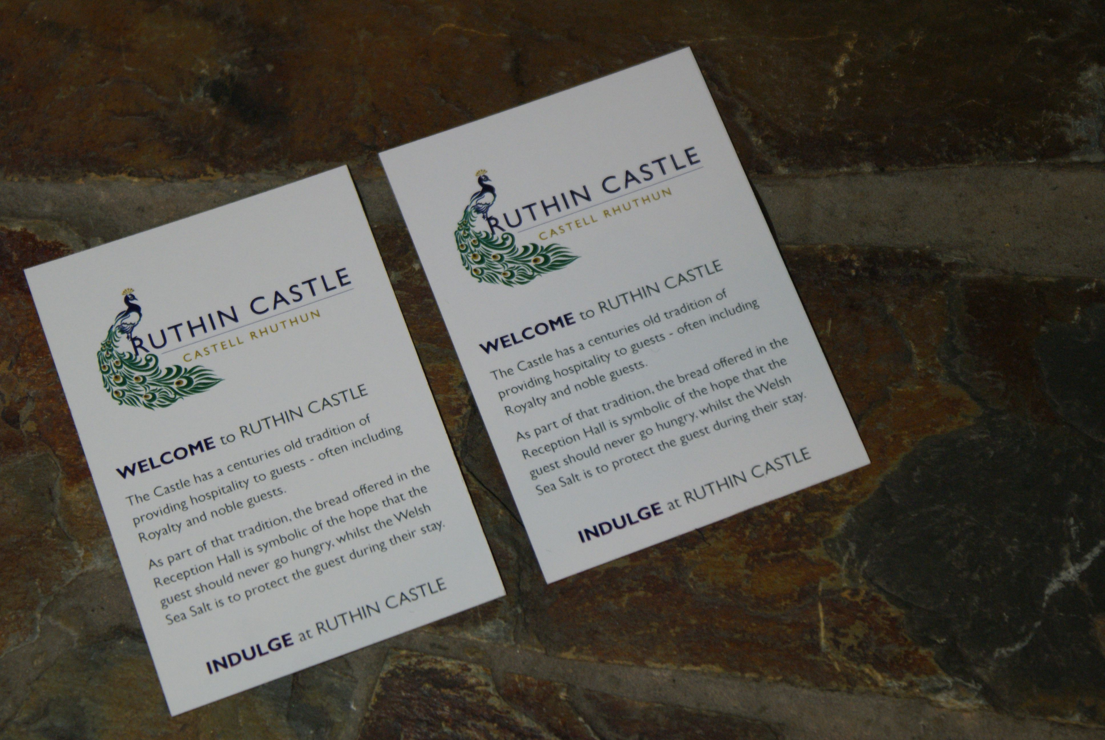 A 'Welcome' card from The Castle.