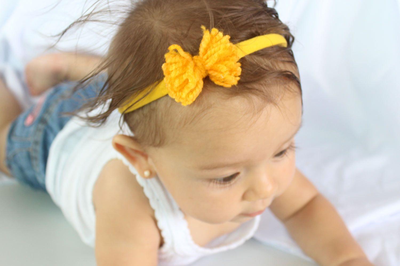 Yellow Headband Newborn Headband Toddler Headband Baby Headband Baby Girl Headband Baby Bow Newborn Photo Prop Several Colors Available