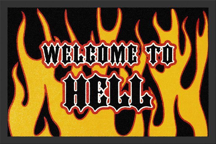 Deurmat met de tekst 'Welcome to Hell'. Grappige manier om jouw gasten te verwelkomen.