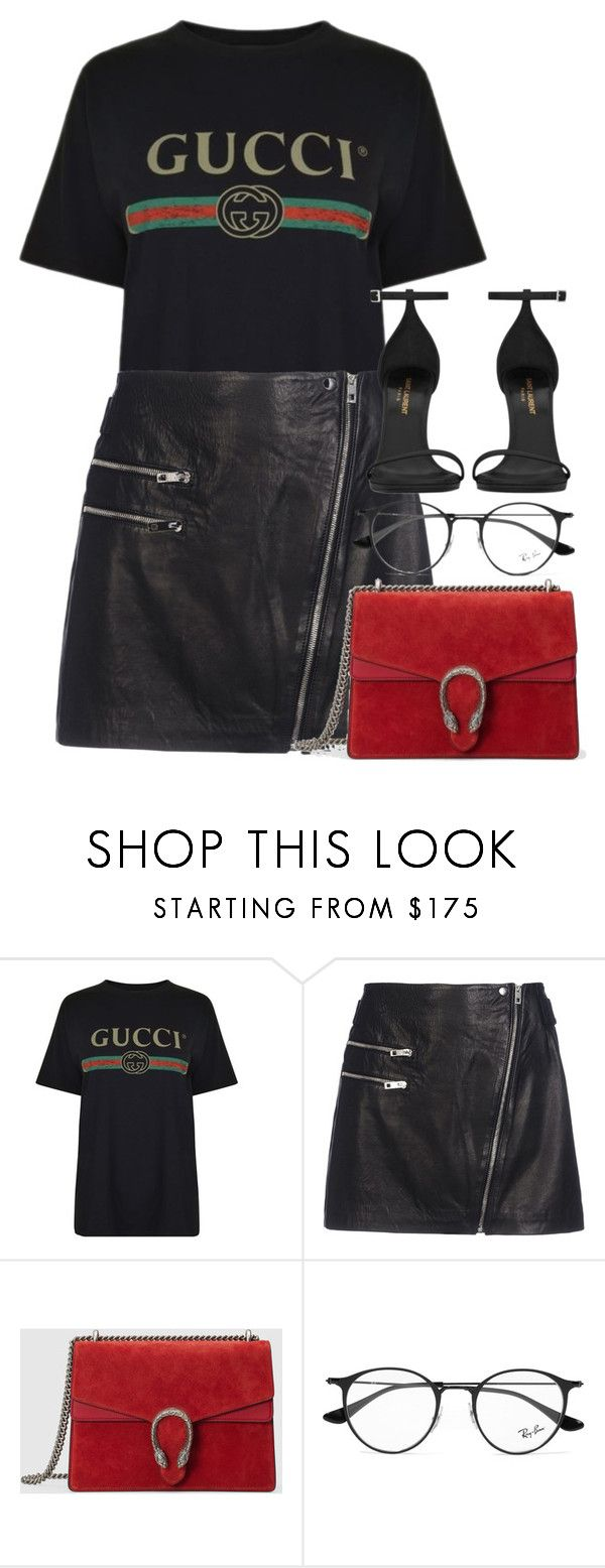 """Untitled #3020"" by elenaday ❤ liked on Polyvore featuring Helmut Lang, rag & bone, Gucci, Ray-Ban and Yves Saint Laurent"