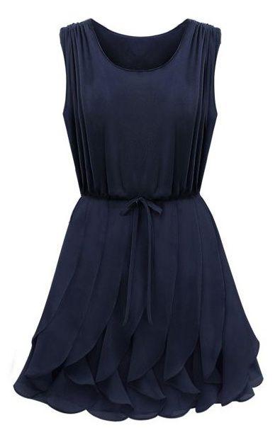 Navy Sleeveless Ruffles Pleated Chiffon Dress