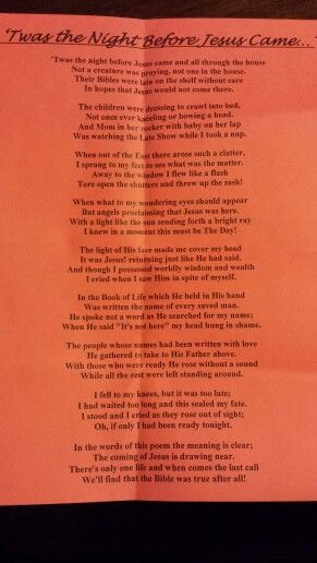 This poem was given to us from pastor and school principal ...