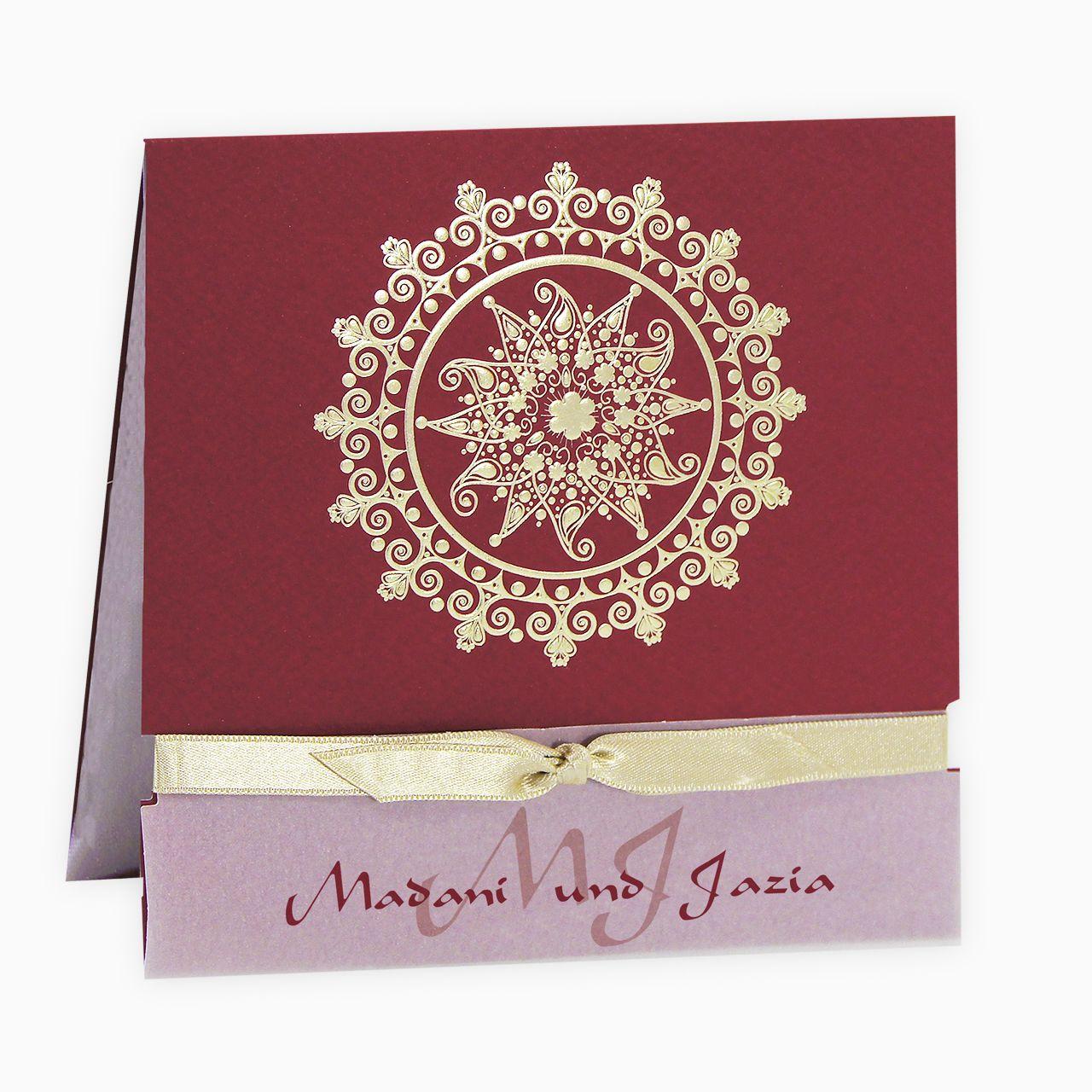 Orientalische Einladungskarte Bordeaux Mit Band Und Goldener