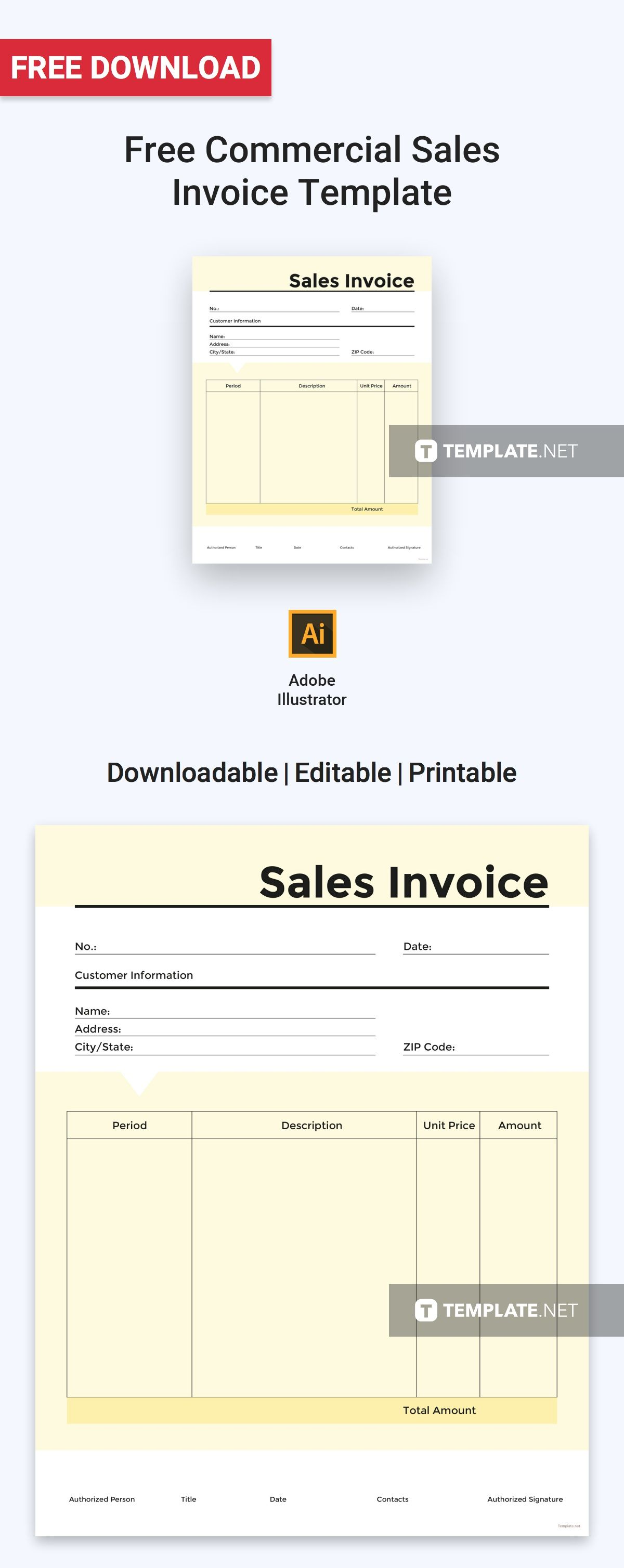 Commercial Sales Invoice Template Free Pdf Word Psd Google Docs Illustrator Invoice Template Invoice Design Template Templates