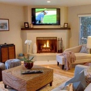 Traditional Corner Fireplace Design With Open Shelf And Lcd Tv Ideas In