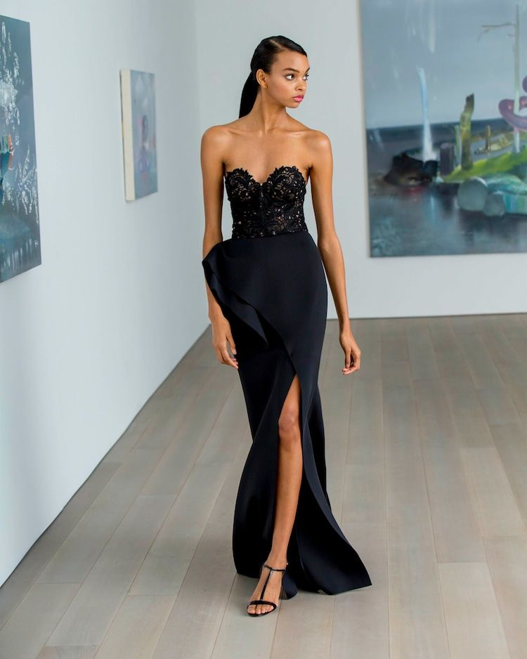Lace Bodice Strapless Gown