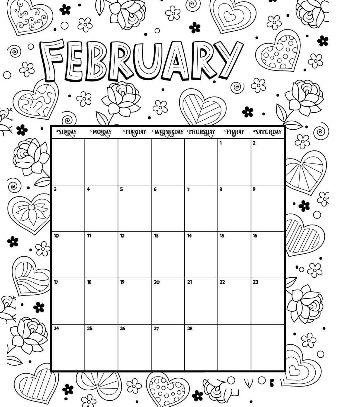 February Printable Coloring Calendar 2019 Valentine Coloring