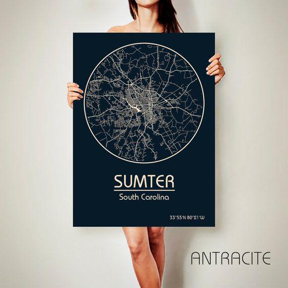 SUMTER South Carolina CANVAS Map Sumter South Carolina Poster City Map Sumter South Carolina Art Print Sumter South Carolina poster
