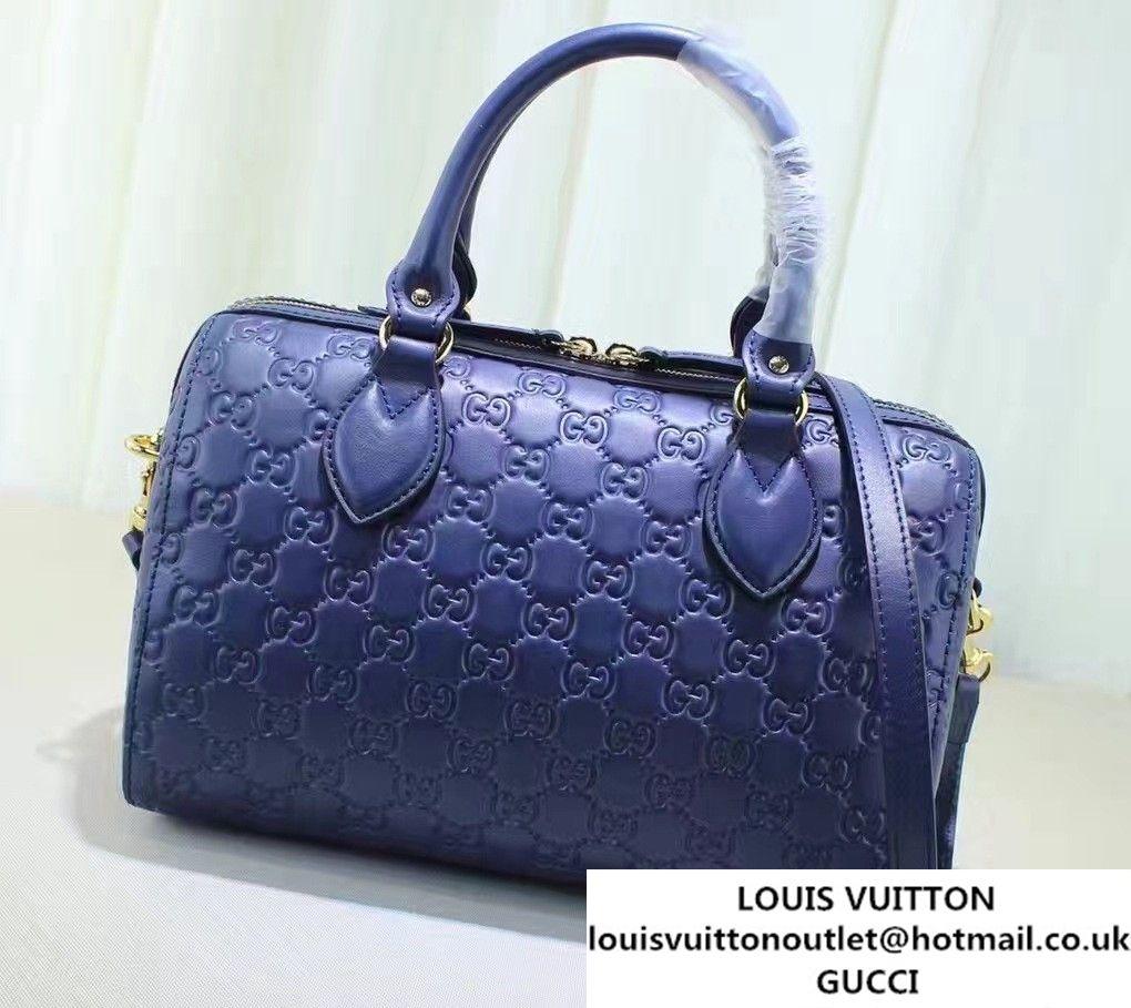 8f76fd8b04ed Gucci Soft Signature Top Handle Small Boston Bag 409529 Blue 2016 ...