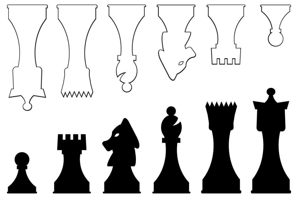 Juicy image inside printable chess pieces