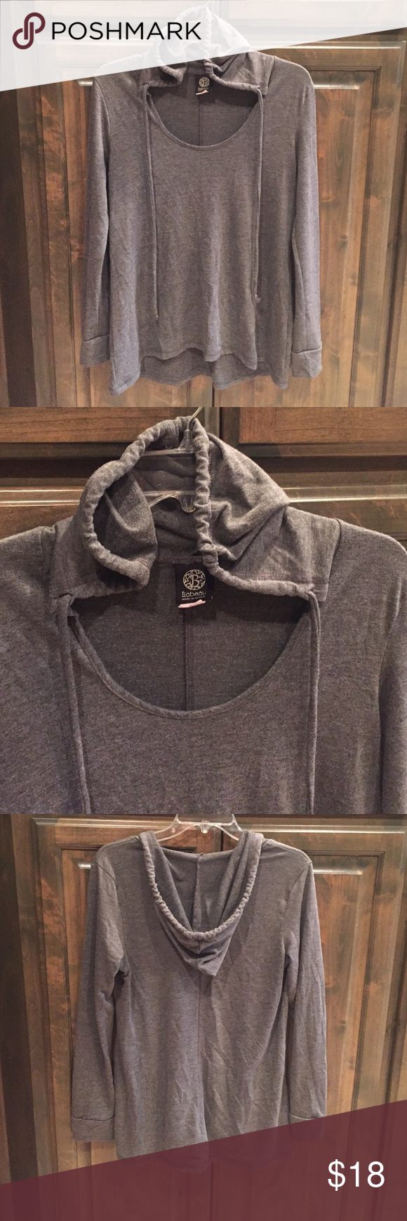 Bobeau Gray Hoodie LS Pullover Top M $58! Bobeau Gray Hoodie LS Pullover Top- size Medium - poly/ rayon/ spandex- some faint piling - bought brand new last season for $58!! bobeau Tops Sweatshirts & Hoodies