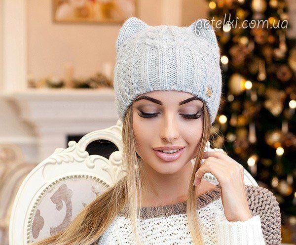 Женская шапка Кошка спицами. Схема, описание   Вязание ...