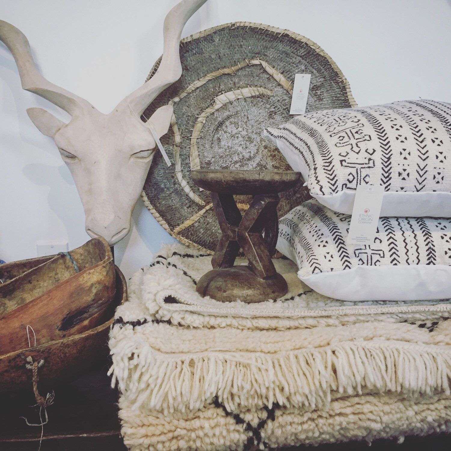 Mudcloth Pillows From Mali, Vintage Makenge Basket From