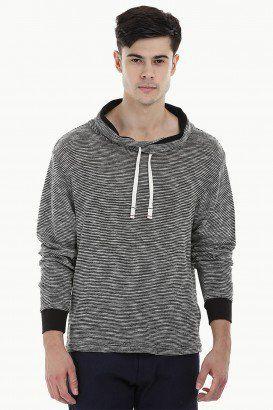 Waffle Cowl Collar Sweatshirt