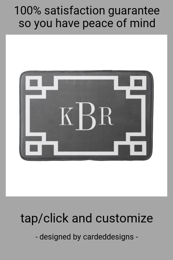 Charcoal And White Greek Key Custom Monogram Bathroom Mat Zazzle