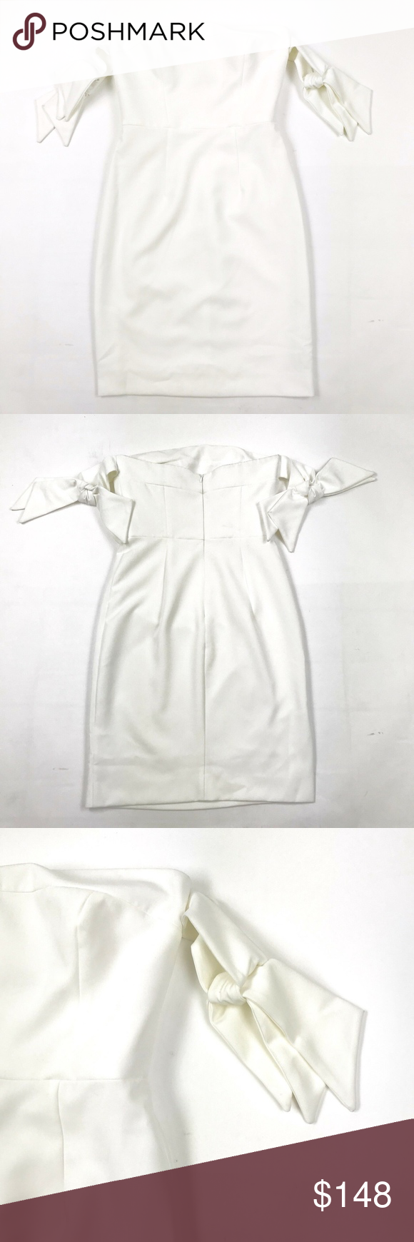 1d1a1748f7048 Milly Jade Off-the-Shoulder Swing Dress Sz 0 Milly Jade Off-the-Shoulder  Tie Sleeve Italian Cady Swing Dress Solid White Sz 0 Overall good, ...