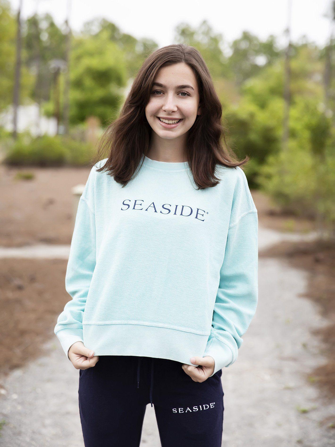 Mint Cropped Ribbed Seaside Sweatshirt In 2021 Seaside Sweatshirt Sweatshirts Cropped Crewneck [ 1893 x 1420 Pixel ]