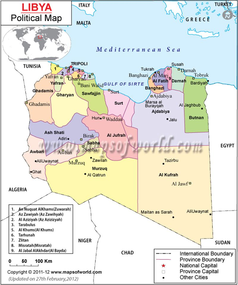 Political Map of Libya Country Maps Pinterest Africa