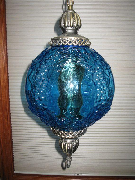 STUNNING 70s rare AQUA BLUE glass swag lamp - grape ...