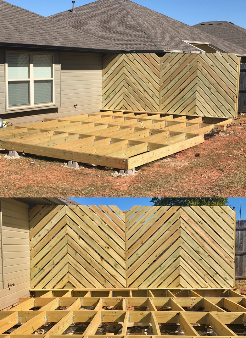DIY Floating Deck Phase 2: Chevron Privacy Wall | Floating deck ...
