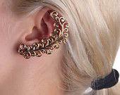 Cartilage Earrings- Ear Cuf- Ear Wrap- Ear Pin- Bridal Earring- Long Earring- Antique Plated Cartilage Earrings