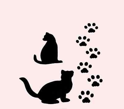 "4/"" CAT STENCIL TEMPLATE STENCILS CRAFT ANIMAL CATS FELINE PAINT ART PATTERN NEW"