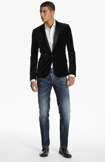 Dsquared2 Tuxedo Jacket Dress Shirt u0026 Straight Leg Jeans | Nordstrom | u30abu30b8u30e5u30a2u30eb | Pinterest