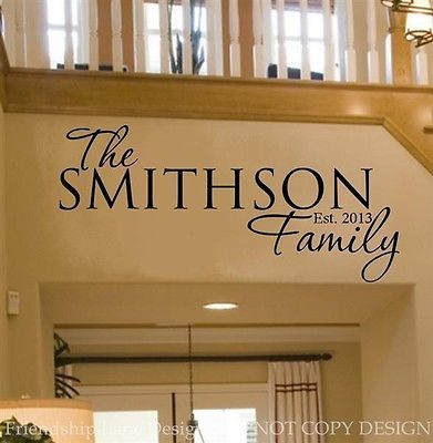 personalized family name date vinyl wall decal words on wall stickers design id=58584