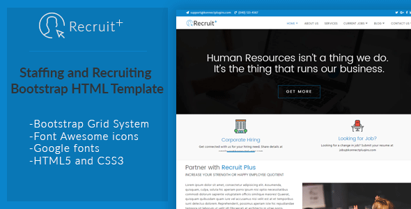 Recruit Plus Staffing And Recruiting Html Template  Wordpress And
