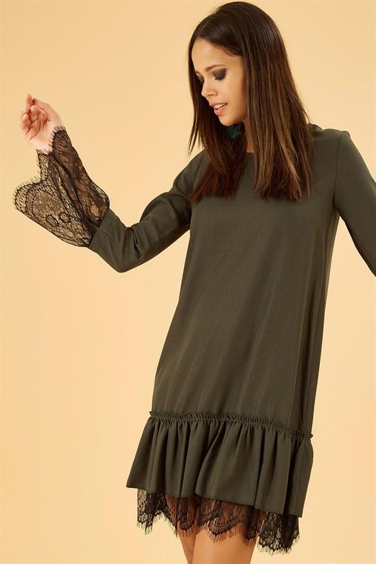 Dantelli Midi Boy Etek Ucu Volanli Sik Elbise Green Darkgreen Lace Black Dress Mini Elbise Elbise Modelleri Elbiseler