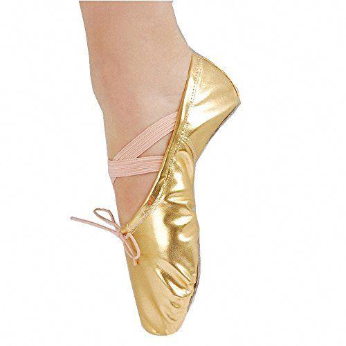 Adult Womens Glitter Ballet Dance Slipper Exercise Paw Shoes Soft Golden 39      Click 40a2438588bd