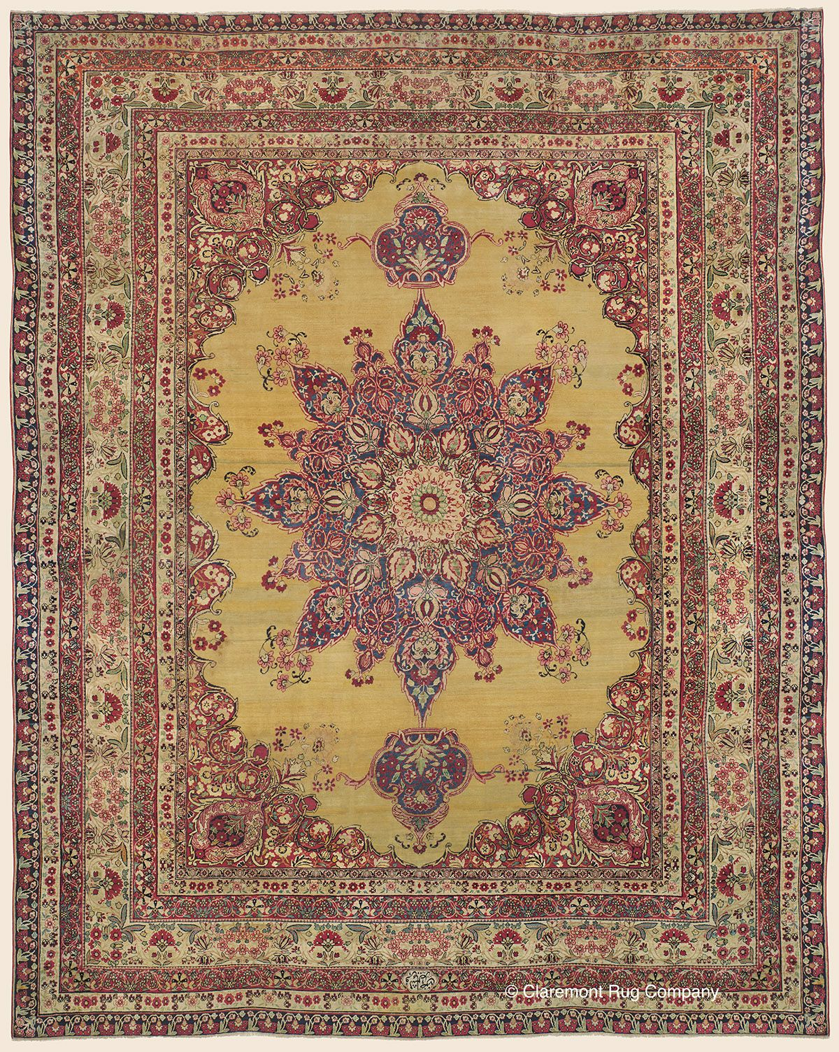 Laver Kirman 12 6 X 15 10 2nd Quarter 19th Century Southeast Persian Antique Rug Antique Persian Carpet Antique Oriental Rugs Claremont Rug Company
