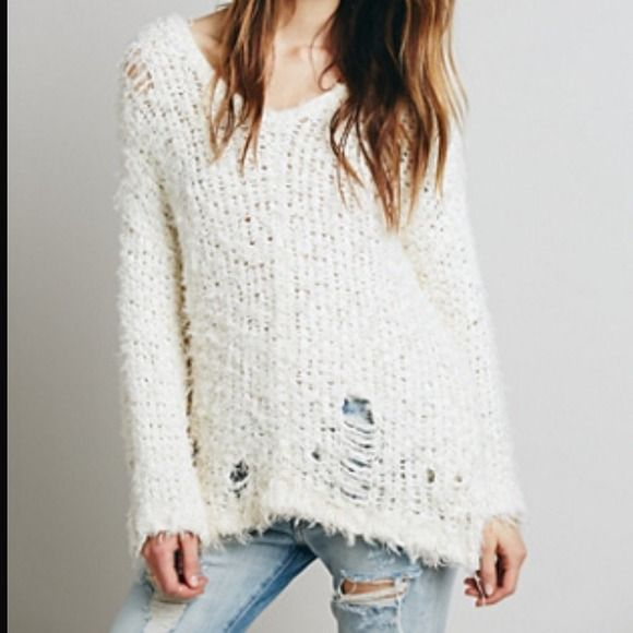 Free People Ivory Ladder Stitch Sweater NWT | Ladder stitch, Free ...