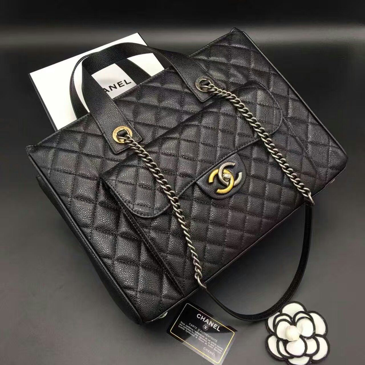 Chanel A98557 Black Grained Calfskin Quilted Large Shopping Bag with Front  Pocket Whatsapp +8615817091613 for more pics and other payment options. 9e3a826aafb03