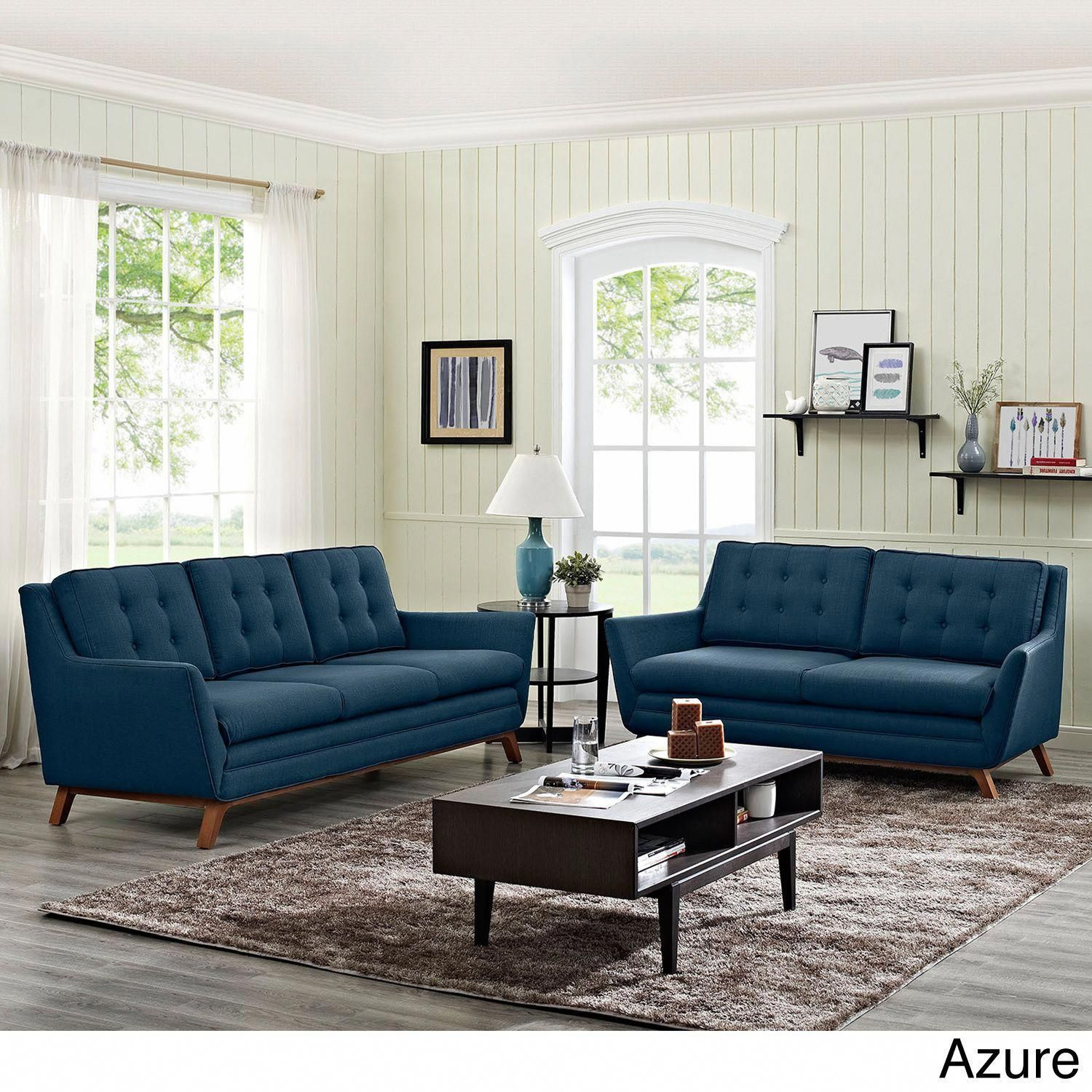 Modway Beguile Tufted Fabric Sofa And Loveseat Set Azure Beige Off White Livingroomsets Living Room Sets Sofa And Loveseat Set Room Set #off #white #living #room #set