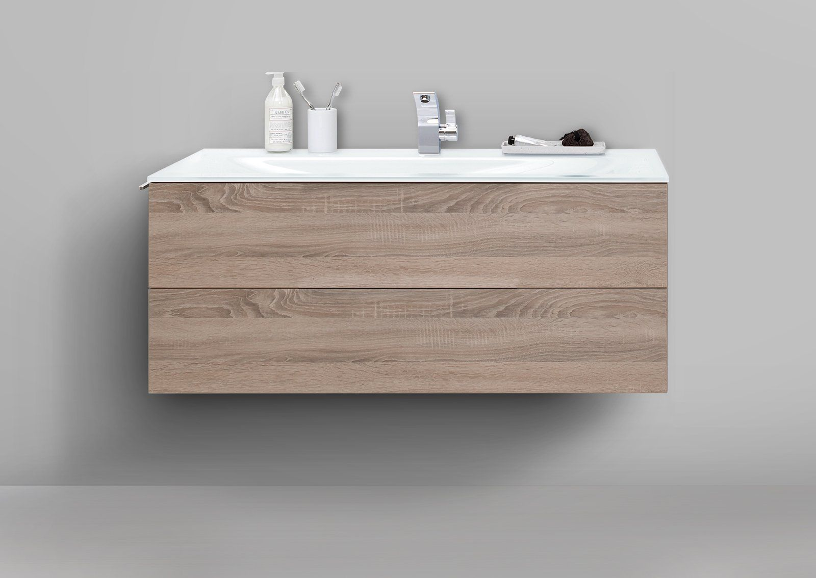 Badmobel Grifflos 120 Cm Glaswaschtisch Optiwhite Mit Unterschrank Waschtisch Set Waschtisch Set Glaswaschtisch Und Unterschrank